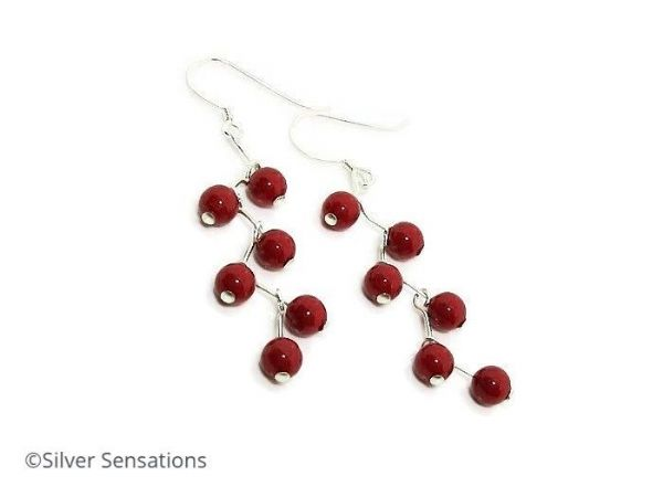 Coral Red Pearls Zig Zag Earrings With Swarovski Pearls & Sterling Silver | Silver Sensations
